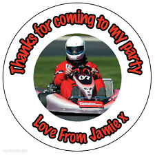 70x Personalised Go Kart Racing 37mm Birthday Stickers Party Thank You Seals 169