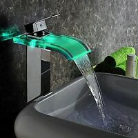 Chrome Glass Bathroom Waterfall Basin Faucet LED 3 Color Spout Sink Mixer Tap