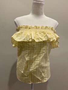 Atmos & Here Size 10, yellow gingham print top, nwt, strapless shirred frill top