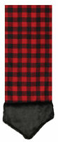 "68"" Buffalo Plaid Red Black Flannel Christmas Table Runner Faux Fur Trim Decor"
