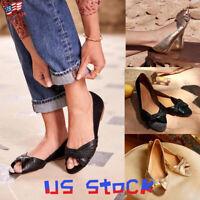 Summer Women Slip-on Peep Toe Flat Pumps Shoes Ladies Braided Slippers Casual US