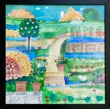 """Original Watercolor Painting By Mike Smith """"Hill Garden""""  LARGE Bright Flowers"""