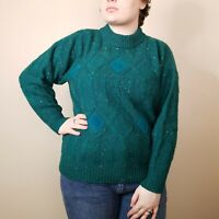 Women's Together Vintage 80's Sweater Size Large Teal Grandpacore Wool Knit