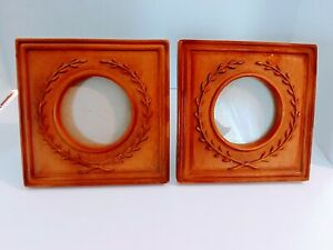 Set Round Picture Table Top Frames Square Wood 6x6""