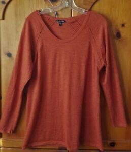 EILEEN FISHER - Orange Long Sleeve 100% Merino Wool Top - SIZE XL