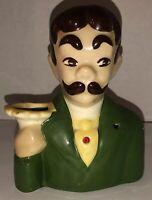 Vintage 1950s Mustache Man Head Planter Vase Barber Waiter Red Jewel Green RARE