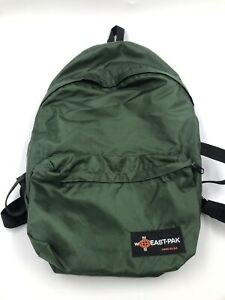 "Vintage East-Pak Green Backpack N535 Made in USA Size 17"" inch Nylon Lightweight"