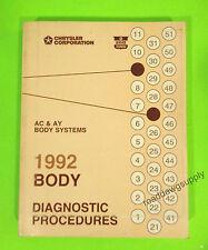 1992 Chrysler New Yorker Dynasty Imperial Body Diagnostic Service Shop Manual