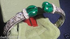 Judith Ripka Sterling Silver Estate Diamonique & Malachite Cuff sz medium New