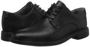 Men Dress Shoes Clark's Unbizley Plain Lace Up Rubber Sole Leather Black $160