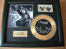 AC/DC Angus Young Preprinted Autograph, Gold Disc & Plectrum Presentation