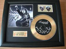 AC/DC Angus Young Preprinted Autograph, Gold Disc & Plectrum Presentation