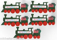 5 Merry Christmas Train Toppers made from Hand Made Paper