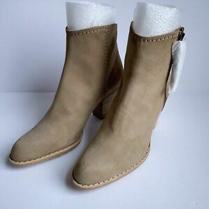 Stuart Weitzman Prancing Tassel Ankle Zip Booties - Tan Nubuck - Size 6.5