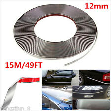 49FT×12mm Silver Chrome Self Adhesive Car Edge Styling Moulding Trim Guard Strip