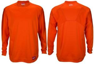 Rawlings UDFP3−BO Dugout Fleece Pullover Long Sleeve Mens Orange