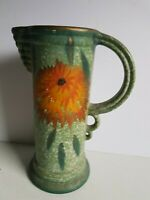 Mid Century Made in England Fancy Pottery Jug or Vase Green Vintage