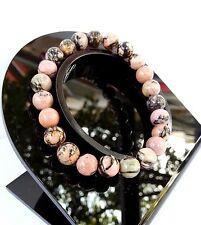 Bracelet en Rhodonite en Pierre Minéral Naturelle Lithothérapie Bijoux Femme