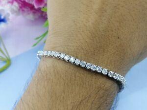 7.5In 14K Solid White Gold Bracelet 8 CT Round Cut Brilliant Moissanite Bracelet