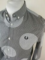 Mens Fred perry Gingham Check Shirt Blue Small 38 Chest Vvgc