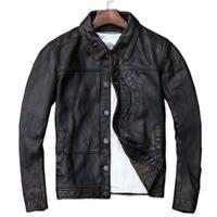 Herren American Casual Wear Lederjacke Vintage Stil Rindsleder Jacke Western L