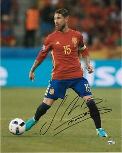 """Sergio Ramos Spain Autographed 16"""" x 20"""" Red Photograph"""