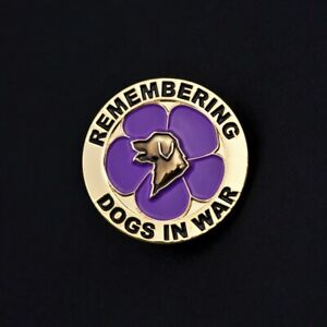 PURPLE POPPY - DOGS - REMEMBRANCE BADGE - GOLD    (P21).
