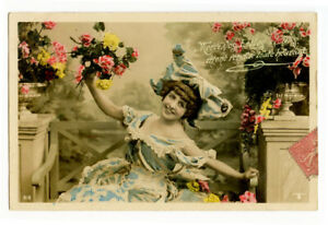 c 1910 European Glamour YOUNG BEAUTY Carefree Cutie photo postcard