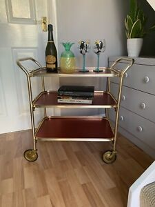 Vintage 1950s Carefree Drinks Tea Hostess Cocktail Trolley Rose Gold 3 Tiers