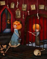 'Hansel and Gretel in Dungeon' Witches trap - Creepy Gothic Art - Red 8.5x11