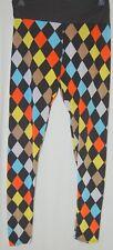 Basico Womens Diamond Checkered Black Leggings Pants Nylon Yellow Orange Blue M
