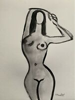 "M.Mercogliano Original Watercolor Nude Figure Painting Art 9x12"" Paper Signed"