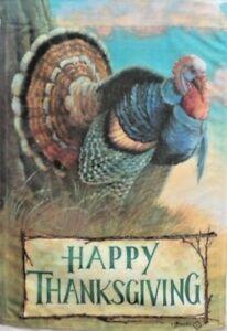 """Wild Turkey Thanksgiving Garden Flag by Toland # 1521,  12"""" x 18"""" Colorfast!"""