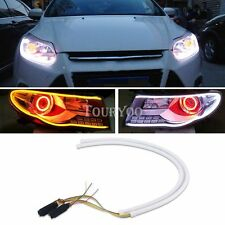 2x Switchback 60cm LED White DRL Strip Tube Lights Sequential Turn Signal Amber