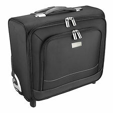 "16"" Black 2 Wheels Laptop Briefcase Pilotcase Cabin Bag Business Trolley Case AU"
