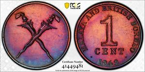 1962 Malaya & British Borneo Cent PCGS UNC Kings Norton Mint Proof