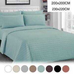 Satin Duvet Quilt Cover Pillowcase Stripe Bed Bedding Set Single Double Size New