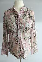 Otto Kern Bluse Gr. 40-L rosa-weiß gemustert Paisley langer Ärmel