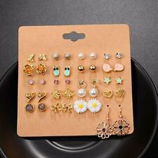 20Pairs/Set Cool Crystal Pearl Heart Butterfly Star Ear Stud Earrings Jewelry CA