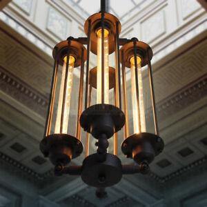 4 Heads Chandelier Vintage Pendant Light Steampunk Style Loft Ceiling Fixture