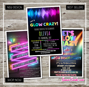 Glow Neon UV Disco Invitations Birthday Party Personalised Invites Boy Girl