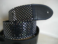 UNIQUE NAVY LEATHER SILVER SPARKLES GUITAR/BASS STRAP