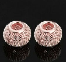 2 PACK OF ROSE GOLD PLATED MESH CHARM BEADS FOR CHARM BRACELET OR NECKLACE