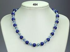 "Lapis lazuli blue stone bead necklace, light blue crystals, silver spacers 18""+2"