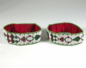 1890s PAIR OF NATIVE AMERICAN PLAINS CHIPPEWA INDIAN BEAD DECORATED ARM BANDS