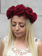 Large Deep Red Rose Flower Headband Burgundy Garland Hair Crown Festival 1335