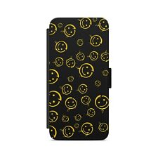 HAPPY SMILEY FACE Pattern BORED Leather Flip Wallet Phone Case