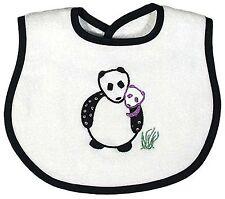 Raindrops Panda Appliqued Bib Black, Cute Unisex Terry Cloth Panda Bib