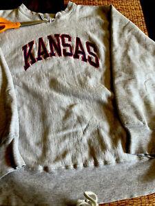 Vintage Champion Reverse Weave Sweatshirt University Of Kansas KU Size Large 80s