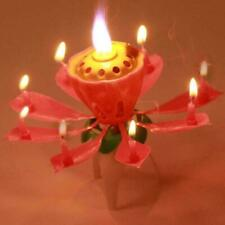 1pc Lotus Flower Candle Musical Blossom Candles Happy Birthday Party Gift U9Z3